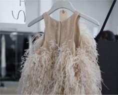 Dressing Miss Dolly Crystal Gown, Ruffled Feathers, Ostrich Feathers, Feather Fashion, Feather Dress, Beige, Taupe, Who What Wear, Get Dressed