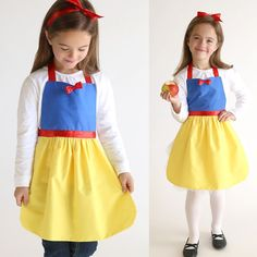 Get a free PDF sewing pattern for this adorable Snow White princess dress up apron. Handmade Christmas gift for a little girl + easy DIY Halloween costume.