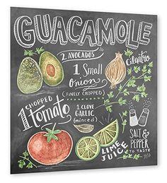 """artboxONE Poster 40x40 cm Typografie Essen & Trinken """"Guacamole Recipe"""" bunt hochwertiger Design Kunstdruck - Bild Typografie Essen & Trinken von Lily & Val"""