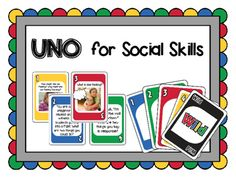 This card game follows the rules of UNO (R) by Mattel, but is customized for speech therapy or counseling by featuring social skills scenarios and discussion prompts.This set of 112 cards is color-coded based on the skills that are being targeted: -Blue: Social Scenarios / Problem-Solving -Green: Conversation Skills -Red: Perspective Taking (including thinking bubbles) -Yellow: Emotions / FeelingsMake sure to print these on card stock and laminate them for added durability.