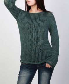 Hand knit sweater Eco cotton long sweater Fall Green by MaxMelody