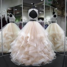 long prom dresses - Gergeous Crystal Beading Two Piece Tulle Prom Dress, Long Evening Dress Two Piece Quinceanera Dresses, Prom Dresses Two Piece, Cute Prom Dresses, Prom Outfits, Sweet 16 Dresses, Tulle Prom Dress, Ball Dresses, Pretty Dresses, Evening Dresses