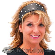 His and Hers Diamond Plate Solid Genuine Leather Headbands with Faux Diamond Studs - SKU LL-GFHBAND-BN
