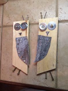 Owl art - pallet wood with tin. Coke bottle cap eye.           Scott Herrin
