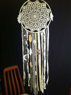 Doily dream catcher with streamers
