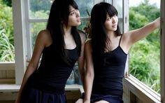 bangs airi suzuki japanese girls maimi yajima asian oriental style dress room window glass view models sexy sensual babes…