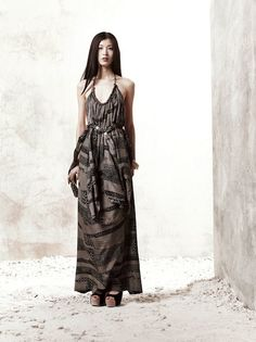 Edun – Halter Dress with Brass Necklace http://www.organicspamagazine.com/