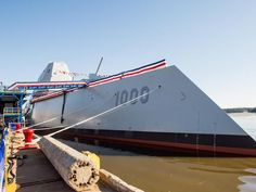 Christening the Zumwalt Bath Iron Works -1st next-gen US destroyer DDG 1000 @ 610 feet it includes radar reflecting angles, tumblehome hull, all-electric integrated power system and advanced gun system