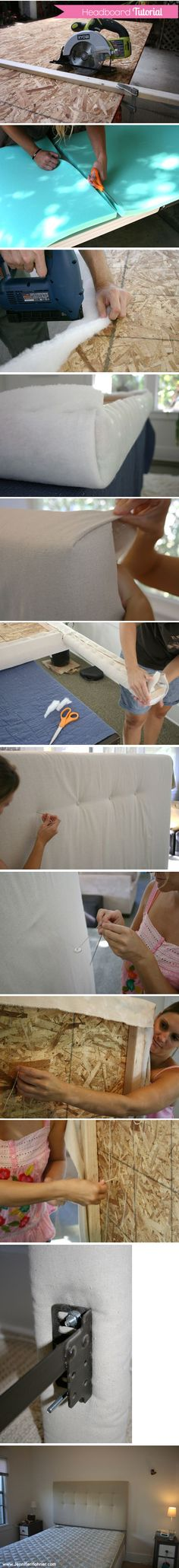 Custom fabric headboard, tutorial. In case it's still needed with the accent wall.