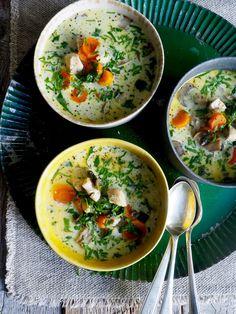 Klassisk kremet kyllingsuppe A Food, Food And Drink, Eating Well, Nom Nom, Chicken Recipes, Curry, Soup, Healthy, Ethnic Recipes