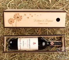 Personalized Wine Box, Custom Wood Wine Box, Dandelions, Wedding Gift, Housewarming Gift, Anniversary Wedding or Housewarming Gift   If you are wondering what kind of gift you should get for friend's birthday party, wedding or anniversary,then this outstanding wooden wine and champagne box
