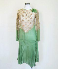 1920s Dress / EXQUISITE Authentic Flapper Dress / Pistachio Silk Chiffon and Lace XS XXS.  via Etsy.