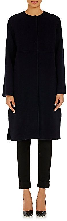 """Cacharel CACHAREL WOMEN'S BRUSHED MELTON COLLARLESS COAT-NAVY SIZE 36 FR  Cacharel Marine (navy) brushed wool-cashmere collarless coat. Panel construction Side on-seam pockets 39"""" center back length (approximately) Concealed snap-front closure Available in Marine (navy) 90% wool, 10% cashmere Dry clean Imported Our model is 5'10""""/178cm and wearing a size 36 FR."""