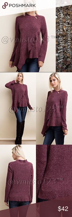 PREMIUM RIBBED ASYMMETRICAL TOP W/ RUFFLES MADE IN USA - PREMIUM COLLECTION  BEAUTIFUL BURGUNDY LONG SLEEVE KNIT TOP WITH ASYMMETRICAL HEMLINE WITH RUFFLES. FEATURES A SHAWL COLLAR WITH KEYHOLE & BUTTON CLOSURE, TOP IS SO ON TREND & A MUST HAVE!   Content: 85% POLY 13% RAYON 2% SPANDEX  AMAZING QUALITY, CASUAL FIT AND LOOKS SO GOOD ON  S(2-4) M(6-8) L(10-12) - ASK FOR MEASUREMENTS IF UNSURE  ‼️PRICE IS ABSOLUTE FIRM‼️PLEASE KEEP IN MIND MADE IN USA CLOTHING COSTS ARE EXPENSIVE AND POSH FEES…