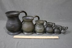 Graduated Set 6 Antique Early-19thC English Birmingham Primitive Pewter Measures Gaskell & Chambers ,....~♥~