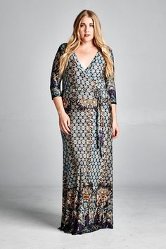 Fabulous quality plus size diamond maxi dress will make you shine! Long and flowing with attention to all the details. Sleeved wrap effect top with a roomy cinched waist, a beautiful diamond multi pri