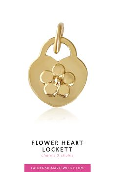 Our Flower Heart Locket is a great piece to add to your charm collection! Set in gold, it's dainty and delicate and looks great worn alone or paired with another charm. Yellow Gold Length is Polished Finish Flower center LS Collection Flower Center, Heart Locket, Jewelry Collection, Charms, Delicate, Flowers, Gold, Flower, Yellow