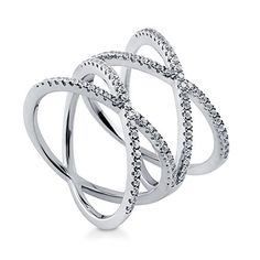BERRICLE Rhodium Plated Sterling Silver Cubic Zirconia CZ Criss Cross Cocktail Ring Size 9 *** Want to know more, click on the image.