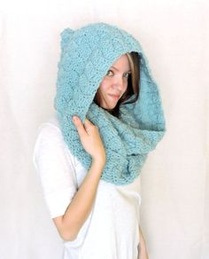 Mint/Ocean Blue/Light Blue Crocheted Chunky Hooded Infinity scarf