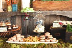 Love this rustic dessert buffet