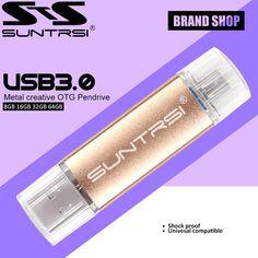 Suntrsi USB Flash Drive 64GB OTG USB 3.0 Pendrive High Speed Metal USB Stick Pen Drive Customized Logo USB Flash Pendrive 64GB