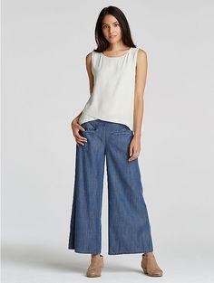 Cropped Wide-Leg Pant in Tencel Cotton Denim