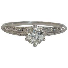 Edwardian 0.41 Carat Diamond Platinum Filigree Ring | See more rare vintage Engagement Rings at https://www.1stdibs.com/jewelry/rings/engagement-rings