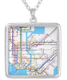 New York Subway Map Necklace. A Silver Plated Square Necklace for the NY traveler http://www.zazzle.com/new_york_subway_map_necklace-177023091954030424 #NewYork #subway #map #necklace #travel #jewelry