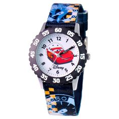 Boys' Disney Cars Stainless Steel Time Teacher with Bezel Watch - Multicolor, Boy's, Multi-Colored