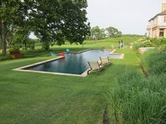 perfect pool configuration, big, wide steps on the side so the swimming lane is clear...East End Residence - Hudson Berkshire LLC Landscape Design and Management