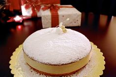 Lemon Greek New Year's Cake -Vasilopita- made with olive oil instead of butter, Greek yogurt and ground almond.