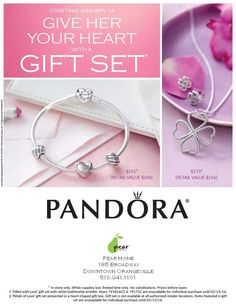 Give her Your Heart Gift set presented in a stunning Pandora Clutch. This is the perfect Gift for your Valentine.Pictured with the new Feathered clips and Ribbon of Love Charm. Also available is the Petals of love gift set, a stunning 35.4 inch Necklace and matching earrings. The matching ring is also available to help you make this Valentines Day one she will not forget. Both sets available until supplies last. With the release of the NEW Valentine's day collection, and stunning gift sets…