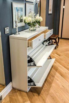 Shoe Cabinet Design, Shoe Storage Cabinet, Hall Furniture, Furniture Handles, Home Entrance Decor, Hall House, House Essentials, Scandinavian Style Home, Home Decor Shelves