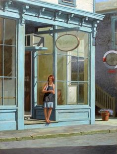 """An Eye On Commercial Street"" Oil, Paul Schulenburg-- Good example of straight sunlight. Harsh shadows and reflectiveness of objects, like that pot in the background."