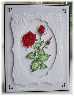 KJ's Summer Wine Korner: Love the cut out of one nestie from another which was also embossed.  Nice layout on this rose card.