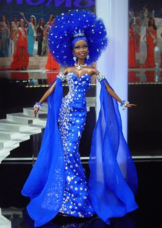 Miss Guyana 2012 by Ninimomo Dolls | This South American nation known for its cultural diversity including a large portion of East Indians, sends this stunningly unique couture Diva.