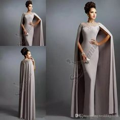 c1acd8fda787f Sexy Formal Evening Dresses 2016 Elie Saab Gray With Cape Ruffles Lace  Edged Cheap Long Sheer Prom Party Gowns Evening Wear Dress Gowns Long  Dresses From ...