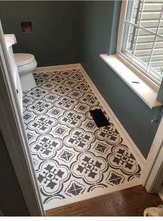 Love the pattern of this concrete or cement tile floor. Cute for a small bathroo… Love the pattern of this concrete or cement tile floor. Flooring, New Homes, Bathroom Makeover, Small Bathroom, Home Remodeling, Bathroom Decor, Small Decor, Small Half Bathrooms, Bathroom Flooring