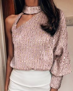 Size: S,XL,L,MStyle:FashionPattern Type:SequinsMaterial:PolyesterNeckline:One ShoulderSleeve Style:Long SleeveLength:RegularOccasion:ClubPackage Inclu. - Sequins One Shoulder Cut Out Design Blouse Sequin Shirt, Sequin Top, Shoulder Cut, Shoulder Sleeve, Looks Chic, Long Sleeve Turtleneck, Cut Out Design, Fashion Outfits, Womens Fashion