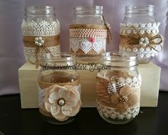 Burlap Mason jar Rustic wedding Country by ClaudiasCuteCouture Burlap Mason Jars, Mason Jar Gifts, Mason Jar Diy, Wedding Jars, Recycled Decor, Mason Jar Projects, Tin Can Crafts, Jute Crafts, Wine Bottle Crafts