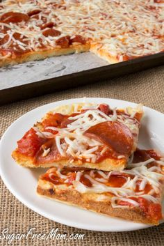 Grain Free Nut Free Low Carb Pizza!! www.sugarfreemom.com