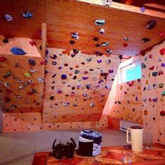 This will be my basement someday Home Climbing Wall, Kids Climbing, Indoor Climbing, Rock Climbing, Basement Finishing Systems, Bouldering Wall, Climbing Workout, Small Fridges, Basement Gym