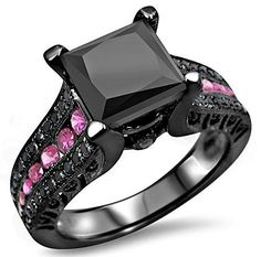 #blackdiamondgem 3.0ct Princess Cut Black Diamond Pink Sapphire Engagement Ring 14k Black Rhodium Plating over White Gold by Front Jewelers - See more at: http://blackdiamondgemstone.com/jewelry/wedding-anniversary/engagement-rings/30ct-princess-cut-black
