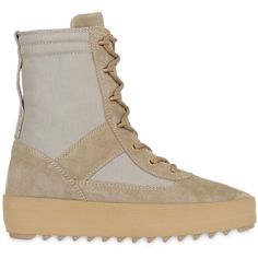 Yeezy Men Suede & Techno Canvas Boots featuring polyvore, women's fashion, shoes, boots, beige, canvas lace up shoes, suede shoes, rubber sole boots, canvas boots and laced up boots