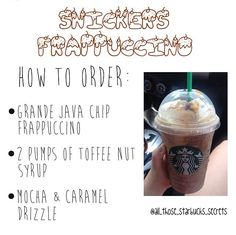 STARBUCKS SECRET MENU! Snickers Frap! Just tell your barista. You can basically make any drink you want, check out some of these yummy ideas!