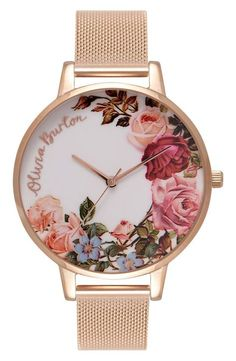 A floral-printed dial captures the idyllic mood and setting of an English garden with a touch of whimsy on this casual watch with a slim mesh strap.
