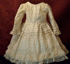 Antique Dress with Valencienne Lace and Matching Bonnet from patsyanndolls on Ruby Lane