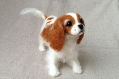 Needle Felted Dog / Custom Miniature Sculpture of your Cavalier King Charles Spaniel - OOAK / Standard size (E) on Etsy, $90.00