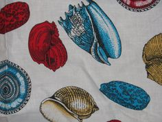 Sea Shell Nautical Fabric Cotton Sea Life Beach by TheIDconnection, $25.00