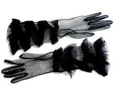 1950s Black Nylon Net Ruffled Gloves - Four Rows of Graduated Ruffles - Size Small - Unworn Deadstock